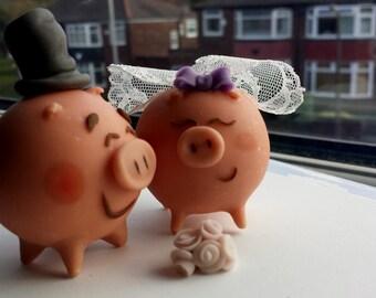 Piggies wedding cake topper. Cochinitos para decorar pastel de bodas