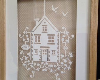 Large Framed Paper Cut. Ideal New Home Or Housewarming Gift. House