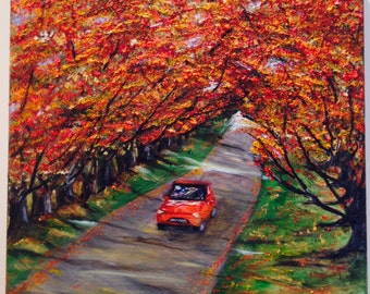 RED CAR  Colorful ,fabulous painting one of a kind wonderful piece of art in warm colors NOW*********  Free Shipping***********