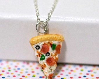 Miniature Supreme Pizza Pepperoni Green Pepper Olive Necklace with Sterling Silver Chain