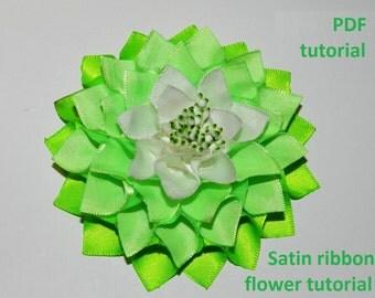 PDF tutorial, fabric flower pdf tutorial, satin ribbon tutorial, Satin ribbon flower hair clip tutorial!