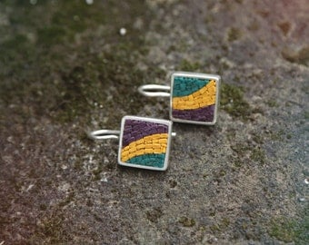 micromosaic earrings, abstract, bold colors, sterling silver