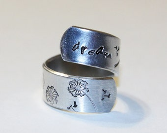 Dream Wrap Ring Hand Stamped Aluminum