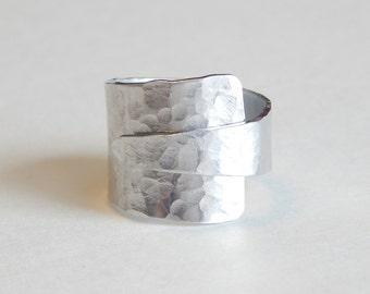 Wrap Ring Textured Aluminum Handmade