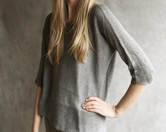Loose Knit Sweater Top Tunic T-Shirt Sheer See-Through Slouchy Oversize Loose Fit 100% Cotton Flannel Grey Slashneck Knitted 3/4 Sleeve