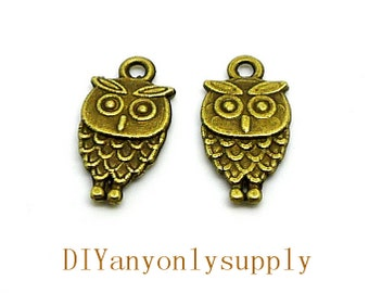 lead and nickel free---100pieces 20x11mm antiqued bronze/silver filigree Owl zinc alloy charms findings