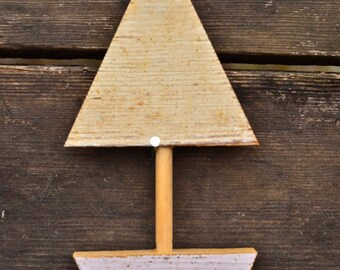 Sailboat ornament made from reclaimed wood