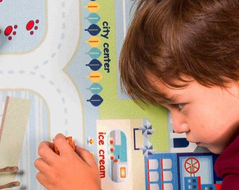 Play Mat My City, Colorful Rug for kids, Blue Carpet for playroom or living room