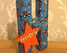 Boys nursery/bedroom decor trucks & diggers transport fabric letters, personalised door plaque. Photo prop, Christening, birthday gift