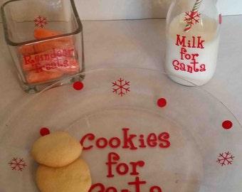 Santa Claus Cookie Plate, Milk Jug w/Festive Straw & Reindeer Treat Bowl.  3 piece set.