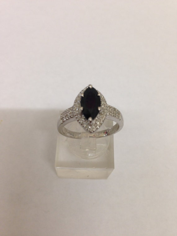 1.18ct  Black Sapphire & 32 Diamonds sterling silver ring size O/7