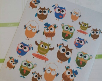 Workout Owl Stickers for your Erin Condren Planner, Filofax, Paper Plum, calendar and/or scrapbook!