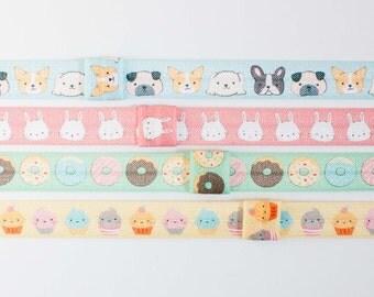 Set of 4 Elastic Headbands - Dog Headband, Bunny Headband, Donut Headband, Cupcake Headband w/ Loop to Attach Any Clip, Baby, Girls, Toddler