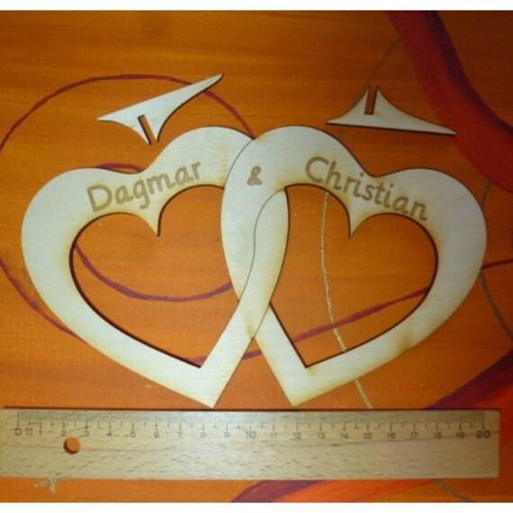 Namensschilder Holz Hochzeit ~ Herz Hochzeit Doppelherz aus Holz 200 mm Hoch ineinander geschlungen