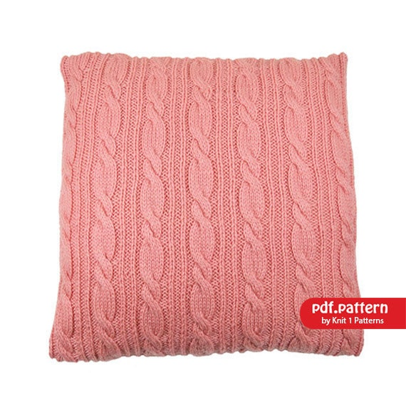 Cable Knit Sweater Pattern Free : Cable Stitch Cushion Cover Downloadable knitting by Knit1Patterns