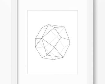 Geometric Print, Minimalist Art, Geometric Shape Print, Triangle Art, Black and White, Shape Art, Minimalist Print, Geometry Art, Math Art
