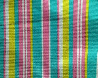 Vintage Retro Vinyl pink/yellow/whit/blue STRIPE round table cloth