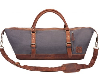 Canvas Leather Duffle Bag – Overnight Bag – Weekend Bag in grey canvas and brown leather by MAHI Leather