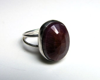 sterling silver ruby ring handmade/handcrafted
