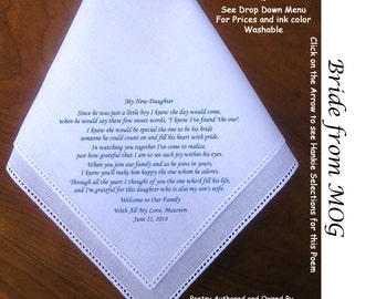 Gift for the Bride Hankie From the MOG 0602B Sign & Date Free!          5 Wedding Hankerchief Styles and 8 Ink Colors. Brides Wedding Hankie