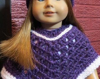 Purple poncho & hat for American Girl Doll