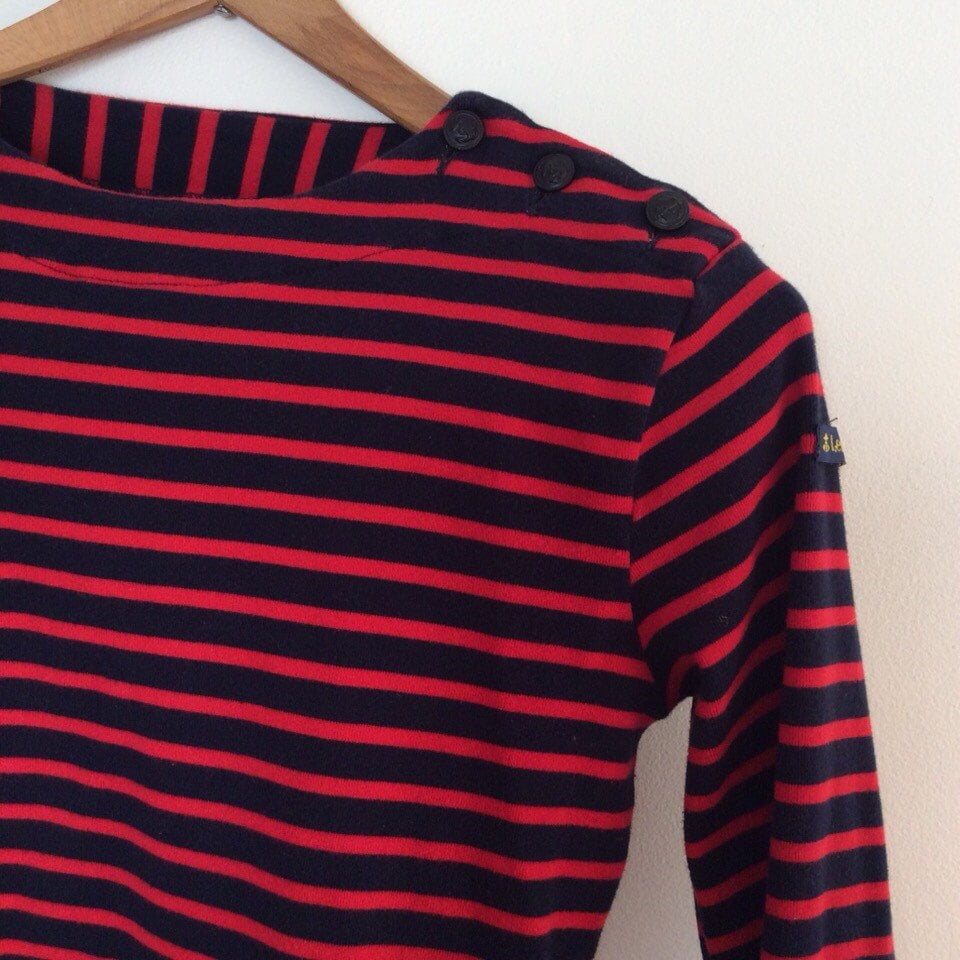 French boatneck nautical shirt red and blue stripes french for Striped french sailor shirt