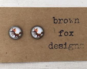 Cartoon fox antique bronze ear studs