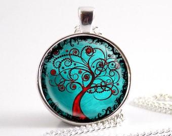 Tree of Life Art necklace, Glass tile aqua Tree pendant jewelry
