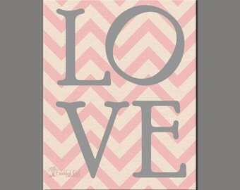 LOVE, Chevron Love Print, Valentine's Day Gift, Chevron Pink, INSTANT DOWNLOAD, Wedding Decor