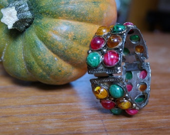 """Vintage Bracelet 1"""" wide hinged Bangle with red, green and yellow Cabachons on Antiqued Silver Tone"""