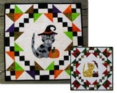 PDF Quilted Wall Hanging Appliqued...PDF Quilt Pattern for Halloween or Christmas with a little kitten....full size templates