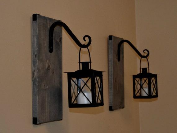 Indoor Hanging Wall Lamps : Candle Lantern Pair Wood Lantern Lantern by EllaMurphyDesigns
