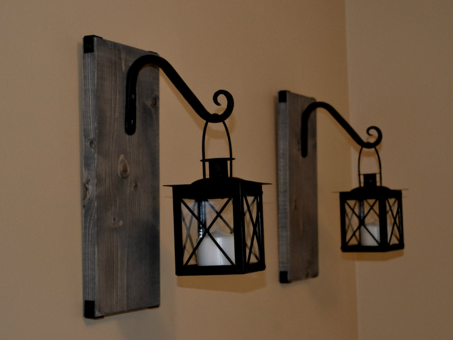Wall Candle Lanterns Indoor : Candle Lantern Pair Wood Lantern Lantern by EllaMurphyDesigns