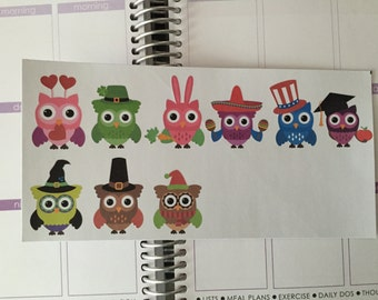 Holiday Owl Reminder Life Planner Stickers