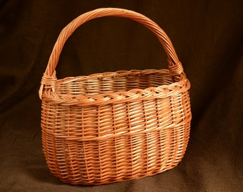 Handmade Wicker Basket, Handwoven Willow Basket, Wicker Picnic Basket, Willow Market Basket, Handwoven Grocery Basket,Country Kitchen Basket