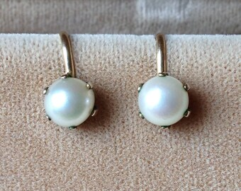 Vintage Freshwater Pearl and Gold Earrings