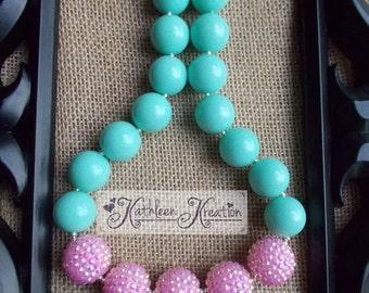 Aqua and Pink Chunky Bubblegum Bead Necklace