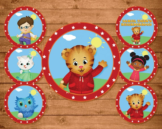 Daniel Tiger Cupcake Toppers Red Stars - Daniel Tiger Stickers - Daniel Tiger Party Favors - Daniel Tiger Printables