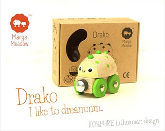 Wooden toy train Drako from 'The Groundies' series - fits standard Brio wooden railway