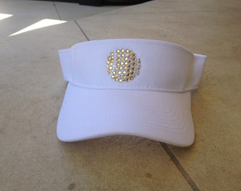 Tennis Visor with Rhinestone Tennis Ball.  Matches Every Outfit!