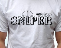 Sniper -  new white t shirt military army design - mens womens kids & baby sizes