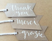 Hand Written Calligraphy Thank You Gift Tags, Pack of 10 - Hand made, hand cut wedding party gift favour