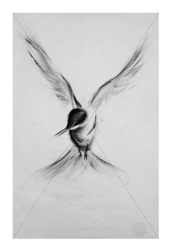 fine art print dessin au fusain animaux oiseau tude n. Black Bedroom Furniture Sets. Home Design Ideas