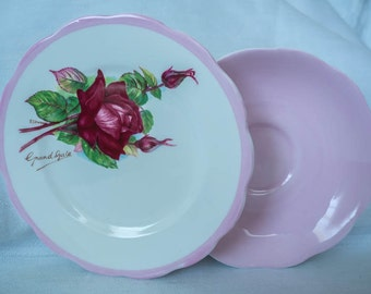 Vintage Roslyn Fine Bone China - Wheatcroft Roses - Grand Gala Saucer & Sideplate Duo - 1950s