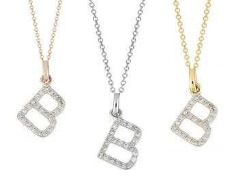 Tousi Jewelers Diamond Letter Necklace -B Alphabet Pendant -Solid 14K Gold- Gold Letter Necklace- 0.12 CT White Color Stone-Initial Jewelry