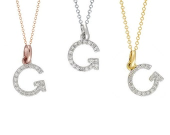 Tousi Jewelers Diamond Letter Necklace -G Alphabet Pendant -Solid 14K Gold- Gold Letter Necklace- 0.10 CT White Color Stone-Initial Jewelry