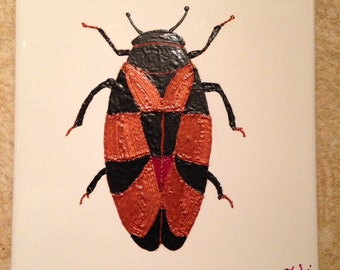 Ceramic Tile Painting. Original. Rockhopper beetle Bug plaque insect creepy crawlie