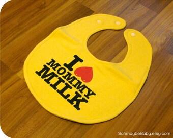 Nursing Baby Bib, I Love Mommy Milk Yellow Recycled T-shirt, Breastfeeding, Funny Baby Gift