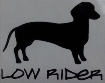 Low Rider Dachshund Dog Vinyl Decal Choose Color