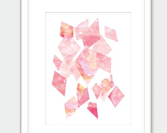 Pink Crystal Print. Watercolor Gem Art. Printable. Digital Download.
